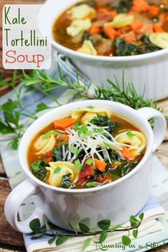 Healthy 30 Minute Kale Tortellini Soup recipe - semi- homemade, eady dinner with frozen freezer tortellini!  Packed with healthy vegetables including kale, tomato and carrots!  The best easy meatless soup recipe.  Perfect for a fast dinner.   | Running in a Skirt