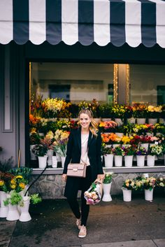 Picking-up flowers at The Bud Shop, wearing my Joseph Coat, Equipment Blouse, Hudson Jeans, Lanvin Sneakers and Bag