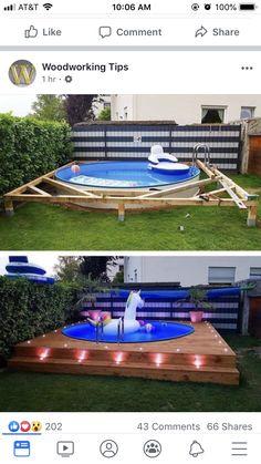 Small Backyard Pools, Backyard Patio Designs, Small Pools, Backyard Projects, Outdoor Projects, Backyard Landscaping, Piscina Pallet, Swimming Pools Backyard, Backyard Makeover