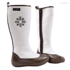 white felt boots for women valenki embroidered by myfeltboots