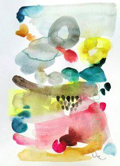 Pintura abstracta original acuarela colores de acuarela, arte moderno, - 11,7 x…