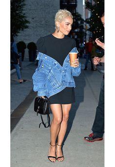 Zoe Kravitz wearing a 80s dress with a 90s denim jacket | ASOS Fashion & Beauty Feed