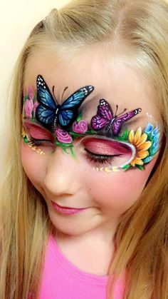 Butterfly face painting by Kel Mcilwain #butterflyfacepainting #butterflyfacepaint #3Dbutterfly ... #kelmcilwain . Painted this on my beautiful daughter . Butterfly face painting .