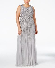1d62f751088 Adrianna Papell Plus Size Chrevron-Beaded Mermaid Gown   Reviews - Dresses  - Women - Macy s