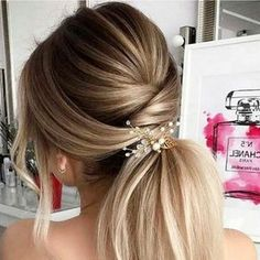 Hairstyles Wedding hairstyle ideas for bridesmaids and bride - great prom hair style ideas too!Wedding hairstyle ideas for bridesmaids and bride - great prom hair style ideas too! Romantic Wedding Hair, Wedding Hair And Makeup, Bridal Hair, Hair Makeup, Guest Of Wedding Hair, Prom Hair Updo Elegant, Formal Updo, Wedding Rings, Lesbian Wedding