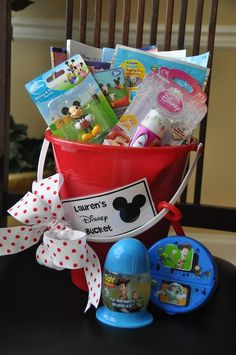 Fun road trip bucket.  (This one was inspired by a Disney trip, but it could easily be modified for any trip)