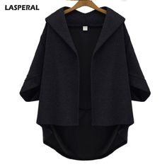 LASPERAL Spring Coats Women Batwing 3/4 Sleeve Loose Medium-Long Loose Woolen Coat casual outerwear