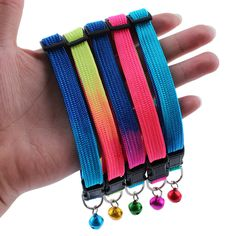 Hot 1Pc Random Color Rainbow Color Safety Adjustable Pet Dog Collars With Bell For Small Dog High Quality