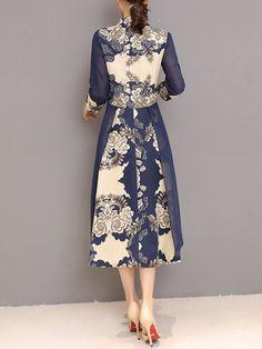 c99d585dd59 Popjulia Women Dark blue Dress A-line Daytime Dress 3/4 Sleeve Tribal Dress