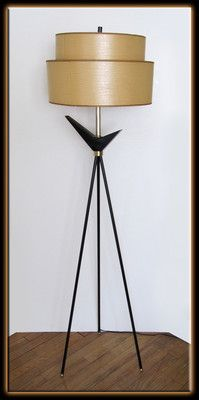 Vtg. 50's Eames Era Mid Century Black Metal Atomic Floor Lamp 2 Tier Paper Shade