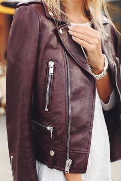 Burgundy leather jacket #thedailylady www.thedailylady.eu