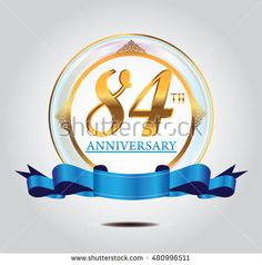 84th anniversary golden logo with blue ribbon and golden ornament