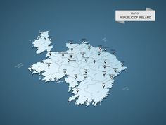 Isometric 3D Republic of Ireland map, vector illustration with cities, borders, capital, administrative divisions and pointer marks; gradient blue background. Concept for infographic.