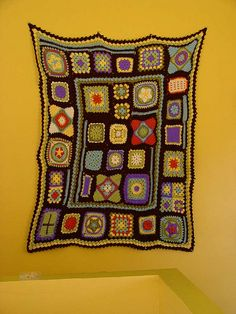 granny square sampler afghan:   From a pattern in a BHG crochet book from the 70s.