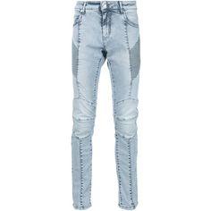 Pierre Balmain biker skinny jeans (5.145 DKK) ❤ liked on Polyvore featuring men's fashion, men's clothing, men's jeans, blue, mens blue skinny jeans, mens blue jeans and mens biker jeans