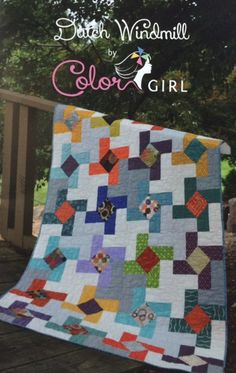 DUTCH WINDMILL is a dynamic pieced quilt pattern by Color Girl Quilts. As is typical with Color Girl Quilts, this beautiful quilt pattern
