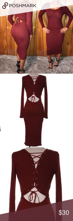 Long sleeve red dress Perfect for the holidays! This dress has a gorgeous back design with lace that ties up. It also comes below the knees. It's very stretchy and fitting. 64% polyester 34% rayon 2% spandex. Dresses Long Sleeve