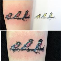 Bird tattoo, watercolor.
