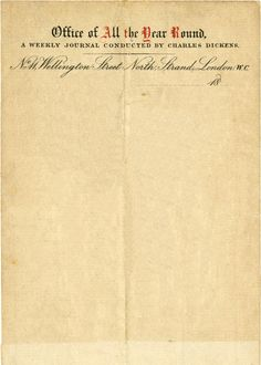 """Letterhead used by Charles Dickens whilst editing his literary magazine, """"All the Year Round."""" Founded by Dickens in 1859, the periodical ran until 1895."""