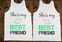 Matching Best Friends - Skreened T-shirts, Organic Shirts, Hoodies, Kids Tees, Baby One-Pieces and Tote Bags Custom from Skreened. Bff Shirts, T Shirts With Sayings, Cute Shirts, Funny Tshirts, Best Friend Matching Shirts, Best Friend T Shirts, Best Friend Outfits, Best Friends, Friends Shirts
