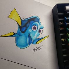 Guess who we found??.... Our favourite yet very forgetful fish, Dory!!! Head over to our Facebook page to see @tlgdrawing amazing time-lapse video showing you how you can have your very own Dory! Isn't this just incredible?! #chameleonpens #findingdory #findingdorymovie #dory #art #illustration #timelapse #timelapsevideo #colour #color #colouring #coloring