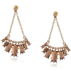 """Betsey Johnson """"Iconic Summer Metallics"""" Chain and Gem Chandelier Drop... (€13) ❤ liked on Polyvore featuring jewelry, earrings, betsey johnson earrings, summer earrings, gemstone jewelry, chandelier drop earrings and gemstone drop earrings"""