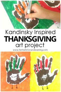Kandinsky Inspired Turkey Handprint Art Project - Fantastic Fun & Learning