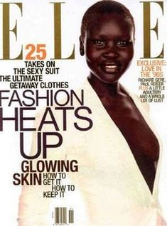 Elle, NOV 1997, Alek Wek...the magazine took a risk and featured a little-known, darker-hued, Sudanese girl on the cover - and the response was monumental.