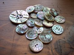 Carved pearl buttons  I have some of these and they such eye candy