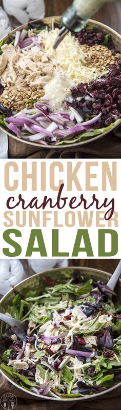 Chicken Cranberry Sunflower Salad - This amazing salad is full of spring mix, shredded chicken, mozzarella cheese, sunflower seeds, red onion, and dried cranberries all topped with a poppyseed dressing.