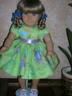 Lime Green Disney Tinkerbell Dress with Puffed Sleeves American Girl Doll