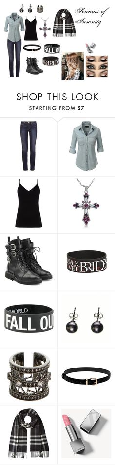 """""""Screams of Insanity- Raven's Outfit"""" by foxangelsmelody on Polyvore featuring Tory Burch, LE3NO, Diane Von Furstenberg, Giuseppe Zanotti, Black, STONE and Burberry"""