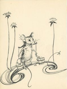 Grimms Fairy Tale Mouse Holding Water Buckets By by KingPaper