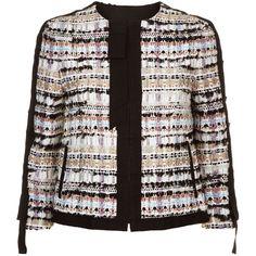 Oscar de la Renta Multi-Coloured Tweed Jacket (38.915 ARS) ❤ liked on Polyvore featuring outerwear, jackets, fringe jacket, fringed tweed jacket, multi color jacket, tailored jacket and oscar de la renta jacket