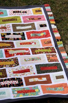 Shape Moth: 'Rainbow brick wall' jelly roll quilt top