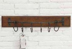 Wall Pot Rack With 6 Hooks - From Antiquefarmhouse.com - http://www.antiquefarmhouse.com/past/kitchen2/wall-pot-rack.html