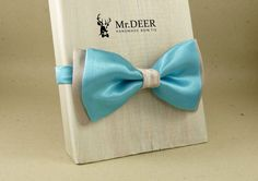 Light Blue and Gray Satin Bow Tie - Ready Tied Bow Tie - Adult Bow Tie - Mens bowtie - Groomsman, Wedding Bow Tie - Gift for Him - Mr.DEER