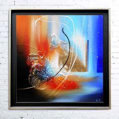 CAJAM Tableau abstrait contemporain encadré caisse américaine peinture acrylique en relief noir rouge orange bleu : Peintures par tableaux-abstraits-nathalie-robert
