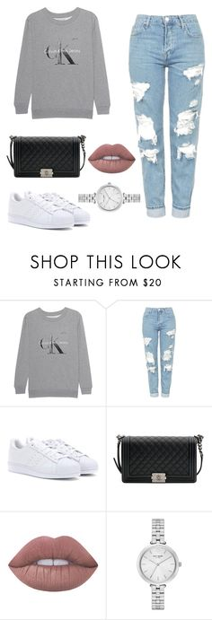 """Untitled #225"" by itsamandarose on Polyvore featuring Calvin Klein Jeans, Topshop, adidas, Chanel, Lime Crime and Kate Spade"