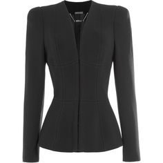 Alexander McQueen Structured Blazer (7.235 RON) ❤ liked on Polyvore featuring outerwear, jackets, blazers, black, wool blazer, alexander mcqueen blazer, structured jacket, slim fit blazer and slim blazer
