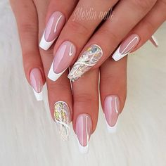 French nail design for ballerina shape. The popularity of ballerina nails keeps increasing every season. Even though mani fashion is changing all the time, this trend stays around, and we are happy it is. This nail shape works better for longer nails. But as for the colors, there is no limit. See our gallery with trendy designs. #nail #naildesigns #ballerinanails