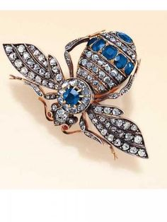 Diamond and sapphire brooch.