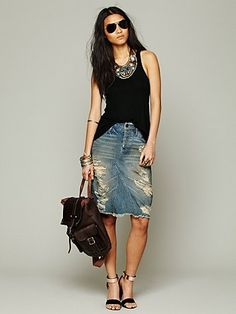 Free People Distressed Denim Skirt