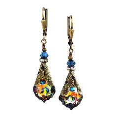 Peacock baroque crystal earrings anniversary gifts