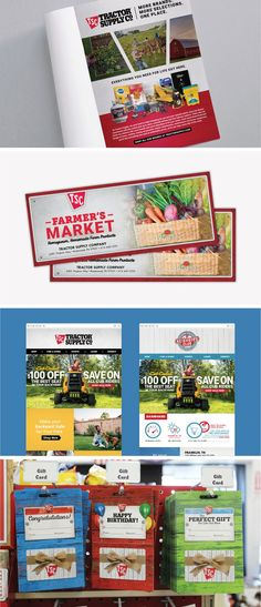 Graphic design agency support for Tractor Supply Company, including gift card design, landing page design, in-store marketing materials, bag-stuffers, coupons, circulars, promotional materials, signage, and billboard design. #nicebrandingagency #nicebranding #tractorsupplycompany #tractorsupplyco #retailmarketingagency #marketing #branding #graphicdesign #giftcarddesign #graphicdesignagency #graphicdesignsupport #nashvillegraphicdesign Branding Agency, Business Branding, Marketing Branding, Tractor Supply Company, Billboard Design, Tractor Supplies, Landing Page Design, Marketing Materials, Tractors