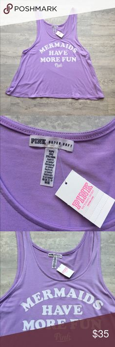 """Victoria's Secret Mermaid crop tank Victoria's Secret PINK. New with tags. Super soft crop swing tank top. Light purple with white writing """"mermaids have more fun"""". Size small bust 34"""" length 19"""" Offers welcome, no trades. PINK Victoria's Secret Tops Tank Tops"""
