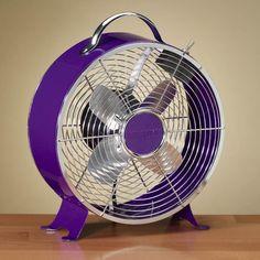 """Purple Fan (Ruby Plaza, 12.5"""" Colorful Royal Purple Vintage Style Metal Table Fan)"""