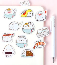 Make your diary or planner cuter than ever with our Rice Bowl Decorative Stickers. Decorate your bullet journal spreads, scrapbooks, notebooks or any other creative projects with them. Food Stickers, Kawaii Stickers, Journal Stickers, Printable Stickers, Cute Stickers, Planner Stickers, Bullet Stickers, Emoji Stickers, Korean Stationery