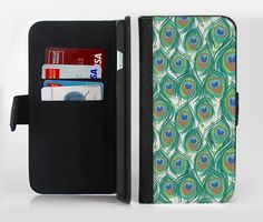 The Peacock Green Feather Bundle Ink-Fuzed Leather Folding Wallet Credit-Card Case for the Apple iPhone 6/6s, 6/6s Plus, 5/5s and 5c from DesignSkinz