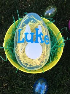 Fill this giant plastic Easter Egg with goodies for your little one. The bottom piece is your choice of solid pink, purple, green or blue and the top is clear to see the toys, candy and other treats. This egg comes personalized with a bunny and your child's name.